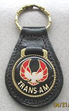 Vintage Black w/Red T/A TRANS AM Pontiac Black Leather Goldtone Keyring Key Fob