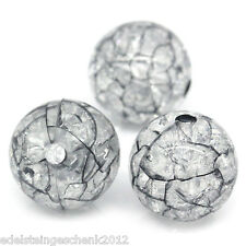 100 Schwarz Crackle Zerbrochene Perlen Kugeln Beads Schmuckperlen 12mm