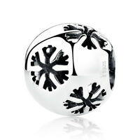 Authentic S925 Sterling Silver Christmas Snowflake Sparkling CZ Charm Bead