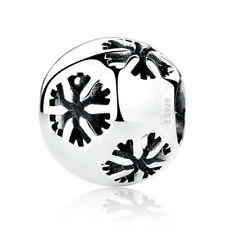 Solid Sterling Silver Snowflake Charm Beads fit Charm Bracelet Christmas Jewelry