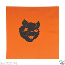 HALLOWEEN Party Luncheon Napkins Vintage Scratch BLACK CAT Beistle Reproduction