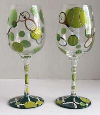 New listing Set Of 2 Lolita Love My Wine Recipe Wine Glass Tennis 15 Oz Hand Painted Retired