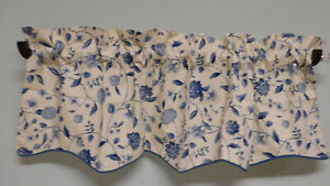 """Waverly-Williamsburg- Blue & White Scalloped Valance--52"""" Wide-Lined in white"""