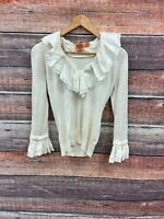 Tory Burch Removable Ruffle Blouse White Womens size XS Short Sleeve