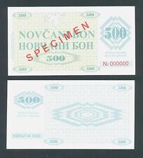 BOSNIA  500 Dinara 1992 UNC  P7s  SPECIMEN  All zeroes serial number  FAKE