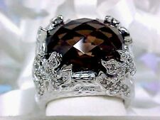 $4,499 FLAMING DIVA! 14K 13GR SHOPNBC FANCY CHAMPAGNE DIAMOND SMOKY QUARTZ RING