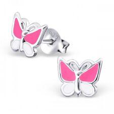 925 Sterling Silver Butterfly Stud Earrings Girls Kids Pink & White Small Studs
