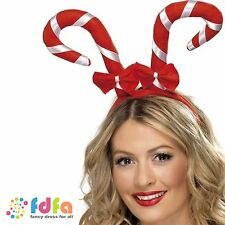 RED & WHITE CANDY CANE HEADBAND WITH BOWS ladies womens xmas fancy dress costume