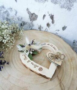 Vintagelook Hochzeit Ringkissen Ringhalter Holz Herz geflammt mit Namen