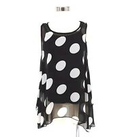 Patchington Top Women Large Sheer Polka Dot Sleeveless Sharkbite Tunic Set
