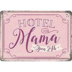 Nostalgic Art Hotel Mama Open 24 H - 24 Hours Open Metal Postcard 10 x 14