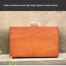 Portable Wooden Box Drawing Painting Art Supplies Case Wood Storage Box