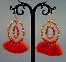 Womens Tassel Dangle Bohemian Style Earrings Stud Fashion Jewelry Crystal Orange