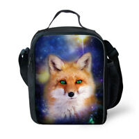 Animal Fox Insulated Lunch Bag Kids Girls Boys School Picnic Food Cooler Box