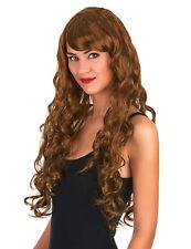 Perruque glamour longue châtain avec boucles femme Cod.42891