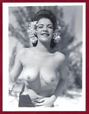 Vintage Nude Photo~Perky Breasts Large Nips Perfect Body Sultry Pinup Outside