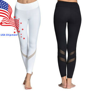 New Women Yoga Pants Leggings Mesh Workout Gym Pants Hidden Pocket