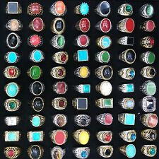 Retro Tibetan Style Gemstone Rings Gold Silver Plated Mixed Lot 50pcs Wholesale