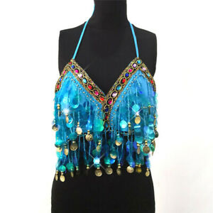 Women's Rainbow Sequin Tassel Mermaid Festival Body Bra Clothes Rave Crop Tops