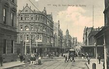Sydney,N.S.W.Australia.King St.from George St.Trolley Car,Used,2 NSW Stamps,1911