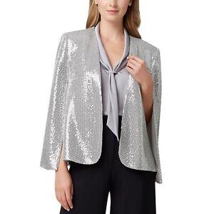 NEW Tahari ASL Silver Metallic Shiny Sequined Cape Jacket Medium