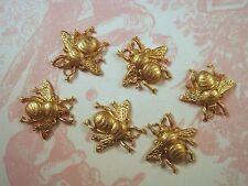X-Small Raw Brass Bee Stampings (6) - FFA8988