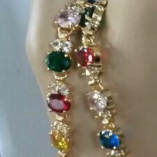 SET Multi colour cz gems GOLD GF matching bracelet necklace earrings ring PlumUK