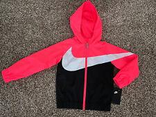 NWT Nike Girls Racer Pink Jacket Size 5 Zip Hooded Pockets Windbreaker