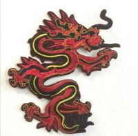 Gold black dragon art badge large Embroidered Iron or Sew on Patch