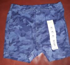 Infant Baby Boy Jumping Beans Blue Camo Camouflaged Twill Shorts New 12M