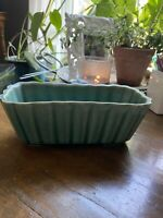 Vintage McCoy Art Pottery Aqua Green Rectangular Planter Scalloped USA 165 Teal