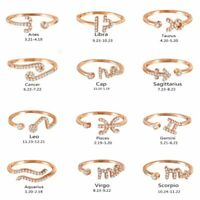 Adjustable 12 Constellations Zodiac Sign Finger Knuckles Rings Rose Gold Women