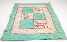 "1940s Prim Shabby 19""X15"" Handmade Doll Blanket Quilt w/ Embroidered Animals"