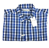 RM Williams Mens Collins Long Sleeve Button Down Shirt Blue/wht Check Sz 4XB NEW