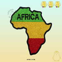 Africa Map Rasta Map Embroidered Iron On Sew On Patch Badge For Clothes etc