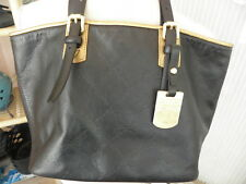 Longchamp 'LM Cuir   Black and Gold embossed Leather Tote Handbag EUC