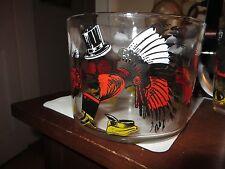 old vintage cocktail bar 6 glasses + ice bucket hats graphics hazel atlas