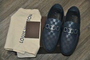 Authentic New Louis Vuitton HOCKENHEIM Navy Damier Leather Car Shoes,9.5/US10.5