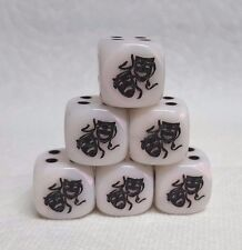 DICE>CHX CUSTOM COMEDY & TRAGEDY MASKS>>*6* 16mm MOTHER-OF-PEARL w/BLACK PIPS