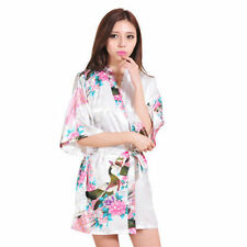 Vestido de noche Moda Mujer Dama de honor novia pavo real Kimono Bata Satén Vestido