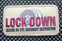 """LOCK DOWN DOCUMENT DESTRUCTION EMBROIDERED PATCH ADVERTISING 4 1/2"""" x 2 1/2"""""""