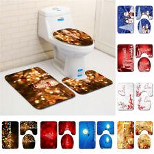 Christmas Serie Print Bathroom Shower Curtain Toilet Waterproof Cover Mat Carpet