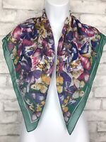 """Scarf - Green Boarder With Multicolor Butterfly Print Square  30x30"""""""