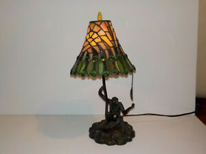 "Tiffany Style Stained Glass MONKEY Table Desk Lamp 17"" Tall Resin RARE Slag"