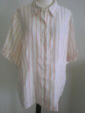 Chico's 3 Shirt Blouse Linen Orange Optic White Stripe Short Tab Sleeves
