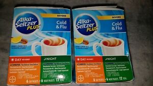 2 Pacs Of Alka-Seltzer Plus Severe Cold and Flu Day/Night Powder 12 Count...