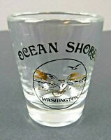 Vintage Ocean Shores Gold Black Logo Seagulls Shot Glass Barware Souvenir 2.25""