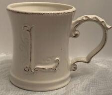 PIER 1 IMPORTS Letter L MONOGRAM Initial Elizabeth Series Coffee Mug Cup