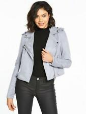 RIVER ISLAND FAUX SUEDE BIKER JACKET GREY BLUE UK 12 NEW SOLD OUT