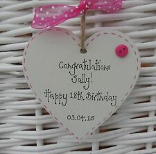 18th/21st/any Personalised BIRTHDAY KEEPSAKE SHABBY WOODEN HEART CHIC 8cm